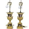 Pair of Hand Painted Campana Urn Lamps