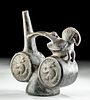 Chimu Pottery Whistle Vessel - Parrot & Armadillos