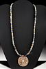 Persian Gilt Silver & Glass Bead Necklace - 16.3 g