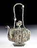 Early 20th C. Chinese Silver Teapot - Pumpkin Form