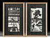 2 Framed Japanese Okuyama Woodblock Prints, 1950s