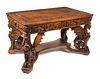 Heavily Carved RJ Horner Winged Griffin Partners Desk