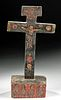 19th C. Mexican Painted Wood Animas Crucifix