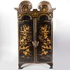 Chinese Export Black Lacquer and Parcel-Gilt Armoire