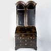 Queen Anne Style Double Domed Black Lacquer and Parcel-Gilt Secretary, 19th Century