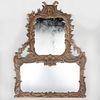 George II Style Carved Wood Overmantel Mirror, Mid 19th Century