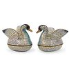 (2 Pc) Chinese Cloisonne Enameled Duck Boxes