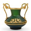 Green and Gold Frosted Glass Vase