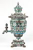 A LARGE RUSSIAN FABERGE-STYLE SILVER AND SHADED CLOISONNE ENAMEL SAMOVAR, LATE 20TH CENTURY