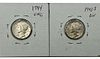Lot of two Uncirculated Mercury Dimes 1943-S and 1