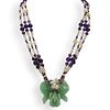 Carved Aventurine and Beaded Amethyst Necklace