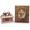 (2 Pc) Judaica Engraving and Ceramic Statue