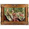 LARGE K. MCDOWELL OIL PAINTING, MOTHER AND KIDS