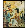 OIL PAINTING BY ARTIST TOMASZ BACHANEK, LADY IN ABSTRACT