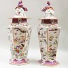 Pair of Large Mason's Ironstone Chinoiserie Vases and Covers