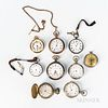 Nine American and European Pocket Watches