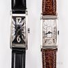 Two Platinum and Diamond Tank-style Wristwatches