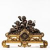 Cast Brass and Marble Figural Statuary Clock