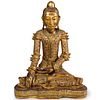 Carved Gilt Wood Seated Buddha