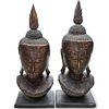 Pair of Thai Gilt Wood Buddha Head Statues