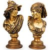 (2 Pc) Gilded Plaster Busts