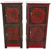 (2 Pc) Matching Chinese Lacquer Cabinets