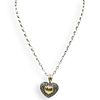 18k and Sterling Silver Heart Pendant Necklace