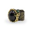 Sterling Silver, Onyx, and Emerald Ring