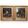 Pair Of Oil on Canvas Monkey Paintings