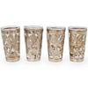 (4 Pc) Silver Overlay Shot Glasses