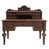 Escritorio. Francia. Siglo XX. En talla de madera de roble. Con cubierta rectangular, 9 cajones con tiradores. 125 x 136 x 71 cm.