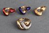 14K White & Yellow Gold Diamond & Enamel Ring Set