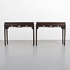 Rare Pair of 19th Century Finely Carved Zitan Console Tables