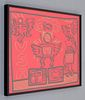 Large Keith Haring Acrylic/Gold Paint Marker on Red Plexi