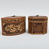 Two English Parcel-Gilt Rolled Paper Tea Caddies