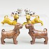 Three Pairs of Chinese Glazed Porcelain Dogs