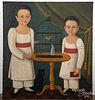 Oil on canvas folk portrait of two children