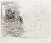 Pablo Picasso (Spanish, 1881-1973) Deux Buveurs catalans, (plate 12 from La Suite Vollard), 1934