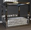 """Paul Evans """"Cityscape"""" polished chrome king bed"""