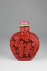 19th C. Chinese Carved Cinnabar Snuff Bottle