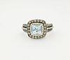 14K WG Aquamarine & Diamond Ring