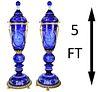Palatial Dore Bronze Mounted Crystal Floor Urns