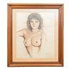 """José Manuel Schmill Ordóñez. """"Patricia"""". Firmado y fechado 1981. Carboncillo sobre papel. Enmarcado. 55 x 46 cm."""