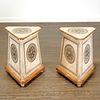 Pair Italian Neoclassical painted pedestal tables