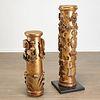 (2) Castilian giltwood pedestals, ex Hearst Coll.