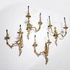 (2) Pair Continental Rococo gilt bronze sconces