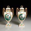 Fine pair Meissen hand painted lidded urns