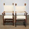 (2) antique Spanish Baroque style armchairs