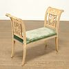 Louis XVI painted and carved wood bench