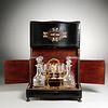 Napoleon III brass inlaid ebony veneer tantalus
